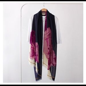 HIGH QUALITY PEONY SOFT POLYESTER SCARVES SHAWL-
